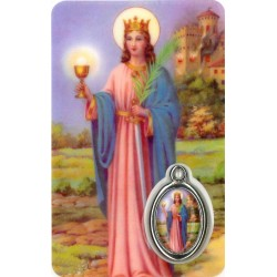 Card with prayer and medal...