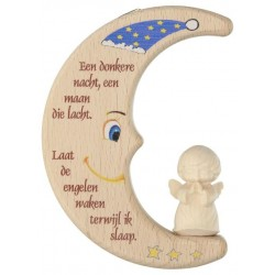 Moon with angel carved wood...