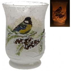 Vase En Verre Mesange  15 Cm