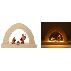 Kerststal + Houtsnijwerk Heilige Familie 10Cm Rode