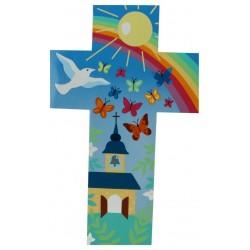 Croix Murale 35 Cm Eglise + Papillons