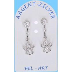 Boucles D'oreilles Argent Ange + Zircons